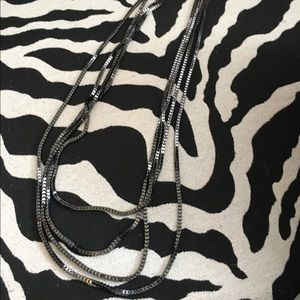 Jewelry - NWT LONG multi strand black metal necklace